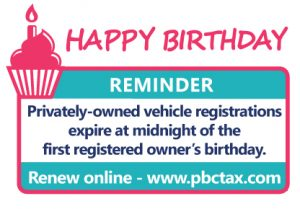 image of cupcake. Vehicle registrations expire at midnight of the first registered owner's birthday.. renew online www.pbctax.com