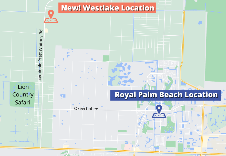 Map showing Westlake location and Royal Palm Beach location