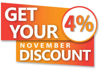 Get Your 4% November Discount